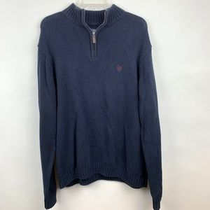 Chaps XL Sweater Navy Blue 1/4 Zip Pullover